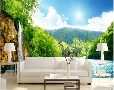 wall scenery murals 3d wallpaper custom mural non woven wall stickers waterfall scenery scenery water gear paintings