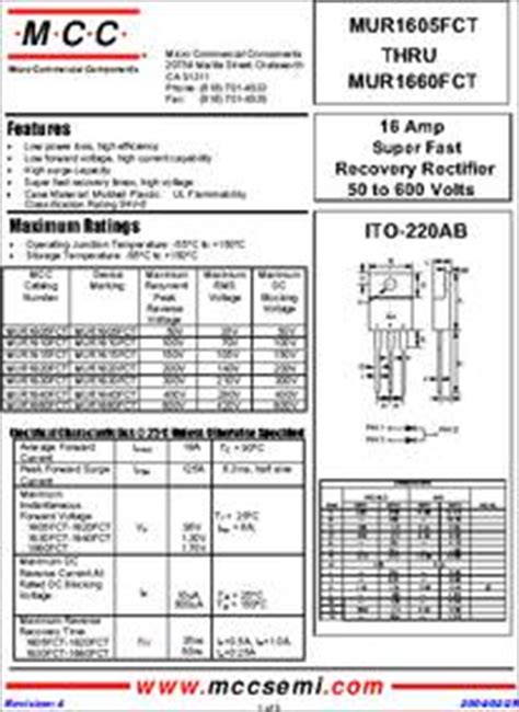 Produk Mur1660ct Fast Recovery Diode mur1660ctg datasheet specifications diode type
