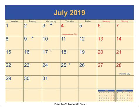 July 2019 Calendar Printable July 2019 Calendar Pdf 2018 Calendar Printables