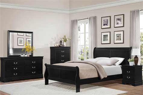 Black Sleigh Bedroom Set by Mayville Burnished Black Sleigh Bedroom Set From