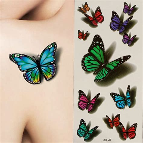 sexy body tattoos 3d butterfly style temporary flash