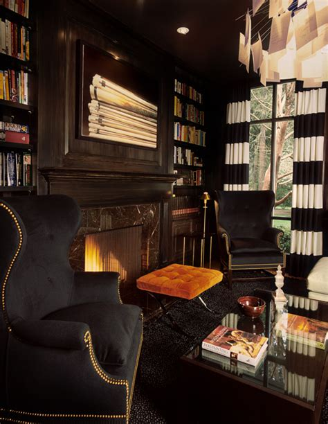 black  white drapes eclectic denlibraryoffice