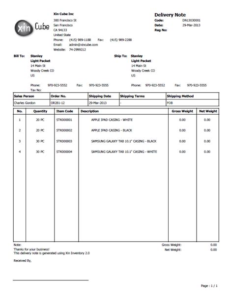 Delivery Note Template by Delivery Note Template
