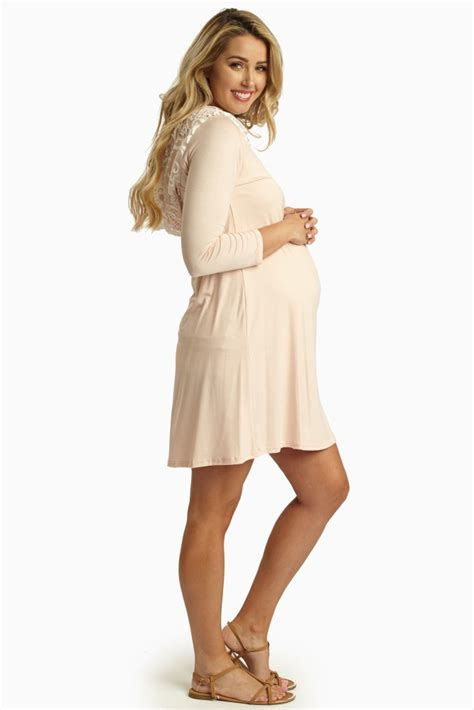Maternity Hooded Sleeve Dress pale pink lace hooded 3 4 sleeve maternity dress