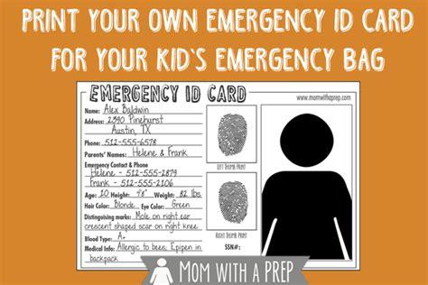 emergency id cards   mom   prep