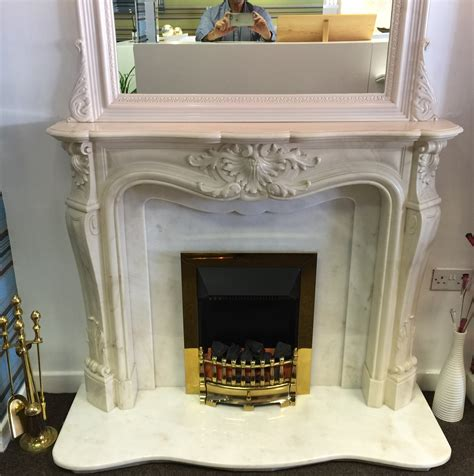 louis marble fireplace with mirror ex display select