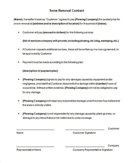 snow removal contract template template design
