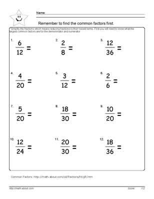 6th Grade Fraction Worksheets by 9 Worksheets On Simplifying Fractions For 6th Graders