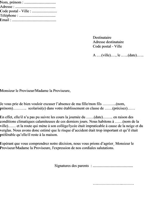 Exemple De Lettre Justifiant Une Absence Modele Lettre Excuse Absence Maladie