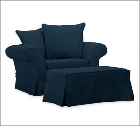 Navy Blue Slipcover by Pottery Barn Charleston Chair A Half Ottoman Slipcover