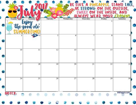 calendar design july july 2017 calendar is all about what pineapple inkhappi