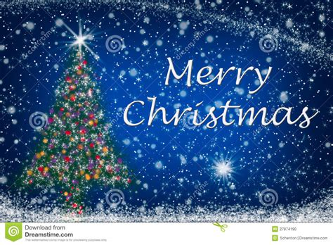 merry christmas sparkly tree on starry sky stock