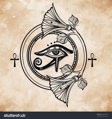 egyptian eye tattoo designs vintage vector illustration tribal