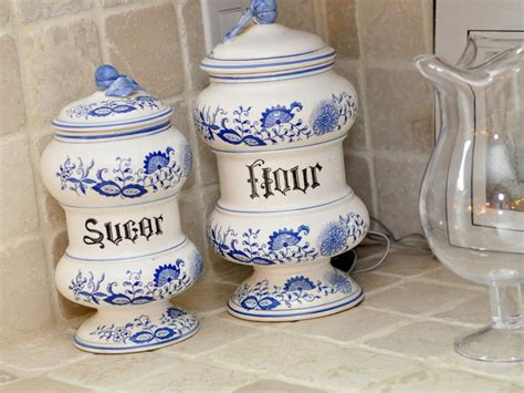 blue and white kitchen canisters photo page hgtv