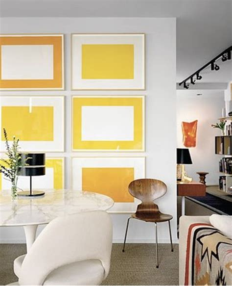 home design with yellow walls yellow gallery wall interior ideas