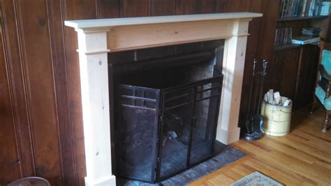 custom knotty pine fireplace mantel and surround by dan