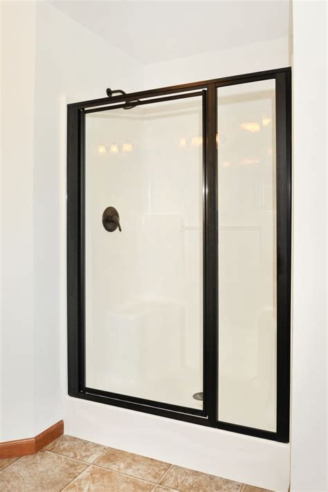 kitchen in the manhattan hr137a pennwest ranch modular 54 quot fiberglass shower with oil rubbed bronze shower doors