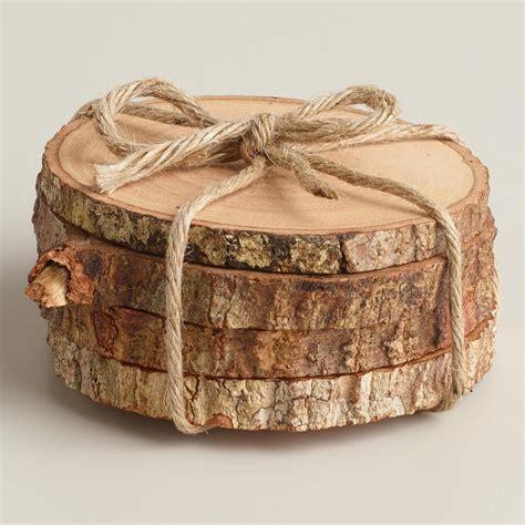 Wooden Coaster wood bark coasters set of 4 world market