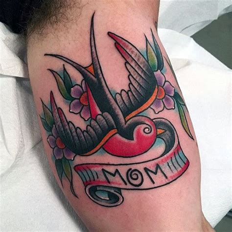 tattoo old school mom 70 traditional swallow tattoo designs for men old school