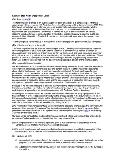 audit engagement letter australia printable