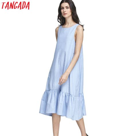 tangada fashion tank dress cotton blue ruffles summer sleeveless casual