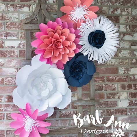 Navy, Pink, & Coral Paper Flower Set   Barb Ann Designs