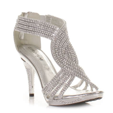 silver high heel shoe silver womens diamante wedding high heel prom shoes