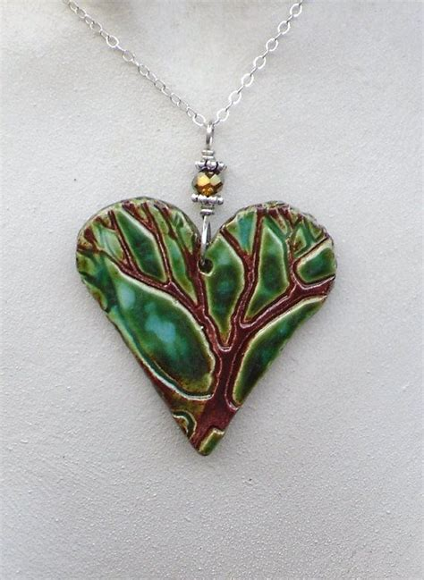 ceramic for jewelry tree ceramic pendant necklace in green aqua