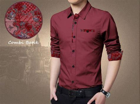 kemeja batik pria simple moderen warna maroon bj