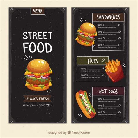 horizontal menu templates free food menu template vector free