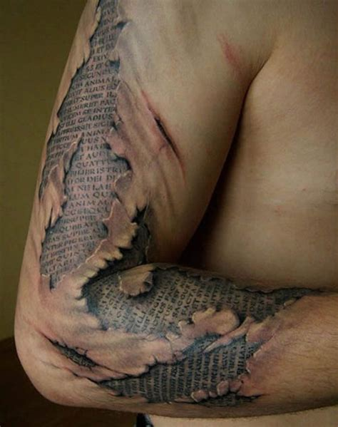 The realistic shading of this tattoo gives the illusion that the