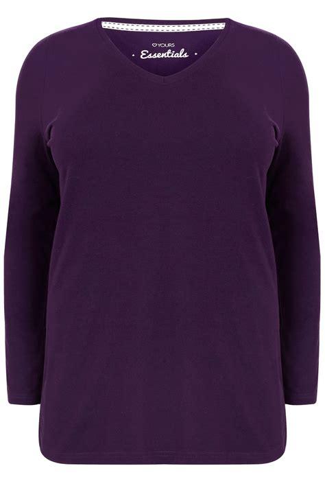 Plain V Neck Sleeve Shirt purple sleeve v neck plain t shirt plus size 16 to 36