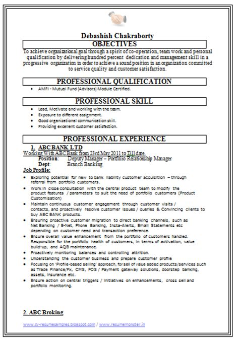 Resume Format For Banking Experienced 10000 Cv And Resume Sles With Free Sales Resume Sle Banking With Experience