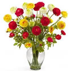 Tall Acrylic Vase 24in Ranunculus Liquid Illusion Silk Flower Arrangement In