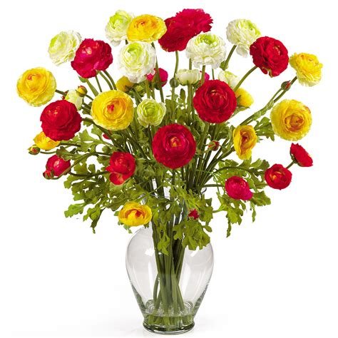 flowers arrangements 24 inch ranunculus liquid illusion silk flower arrangement
