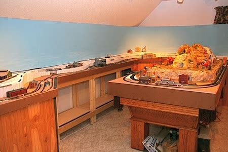 model train layout table height train room and lighting