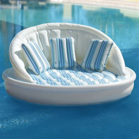 swimming pool sofa the floating sofa hammacher schlemmer