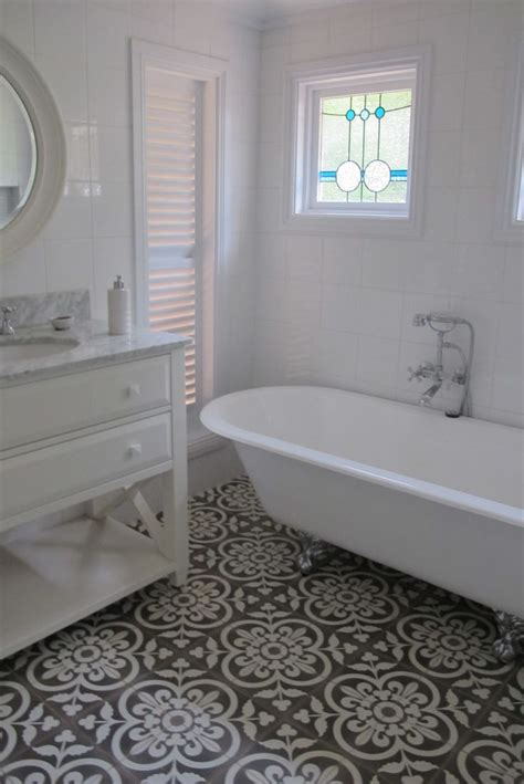 bathroom floor tile get this encaustic tile look with our twenties classic available through the home depot http