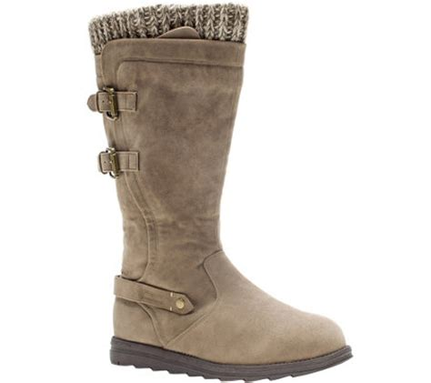 muk luks knit boots muk luks nora faux suede boots with knit cuff buckles