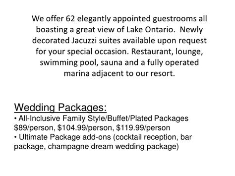 all inclusive wedding packages ontario venue research