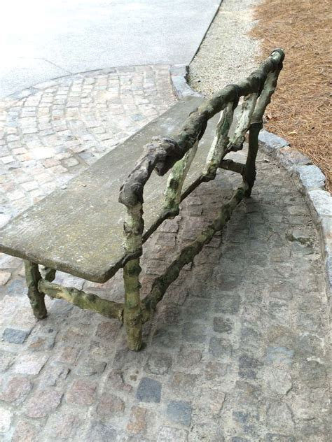 faux stone bench antique french stone faux bois bench at 1stdibs