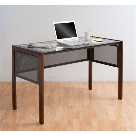 Glass Top Office Desk Calico Designs Office Line Ii Glass Top Desk By Studio Designs In Desks And Hutches