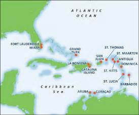 Caribbean Cruise Map by Cruise To Southern Caribbean Caribbean Vacations Carnival