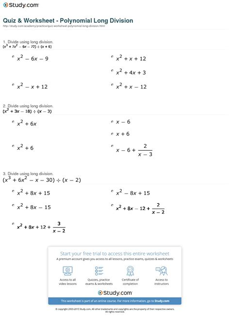 Polynomial Division Worksheet by Worksheets Dividing Polynomials By Monomials Worksheet