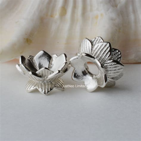 spacers for jewelry solid 925 sterling silver bead caps lotus spacer for