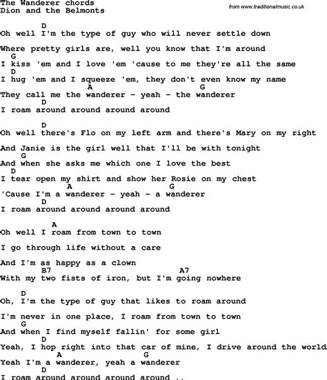 Pdf Words Wanderer Alexandra by Song Lyrics With Guitar Chords For The Wanderer Dion And