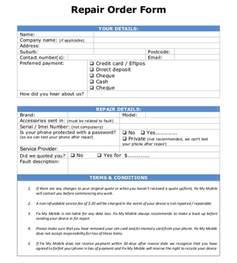 repair form template 20 repair order templates free sle exle format