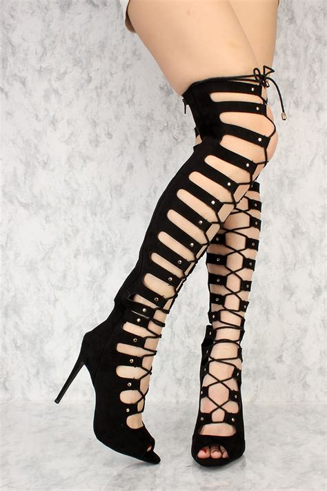 Highheels Gladiator black cutout detail peep toe thigh high heels ami clubwear