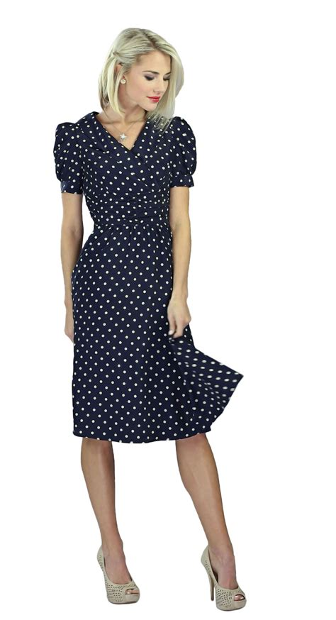 Polka Dress modest dresses in navy polka dot
