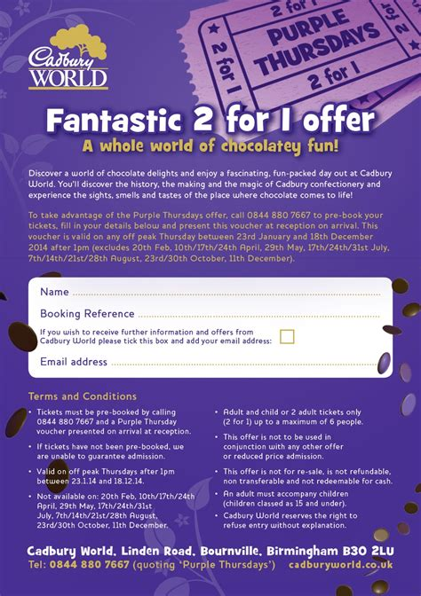 Printable Voucher Cadbury World | 2 for 1 cadbury world holly smith frugal blog extreme